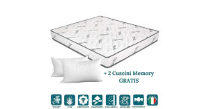 Materasso Matrimoniale in Aloe Vera e Waterfoam Ortopedico Alto 20 cm con Coppia Cuscini Memory Gratis